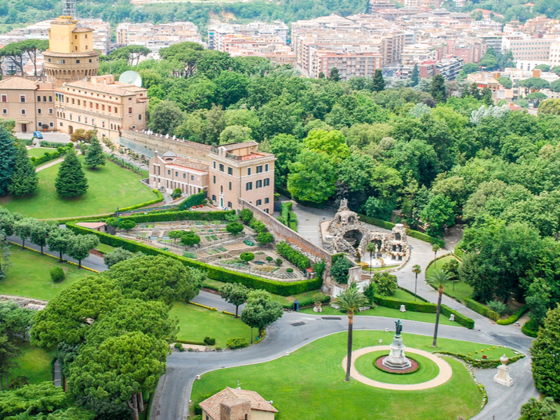 Aerial view of the Vatican Gardens